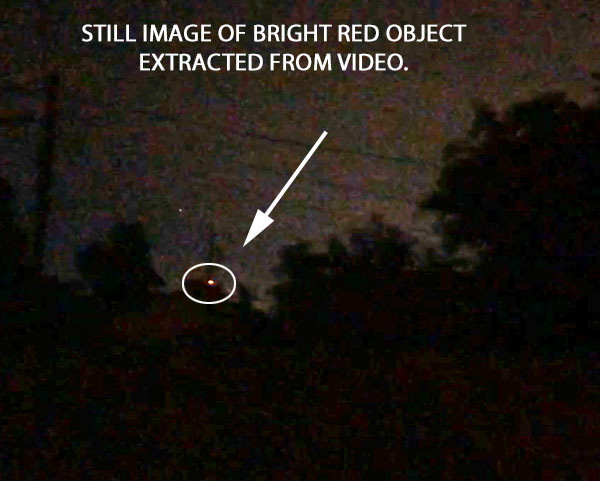 STILL IMAGE OF BRIGHT RED ORB EXTRACTED FROM VIDEO.