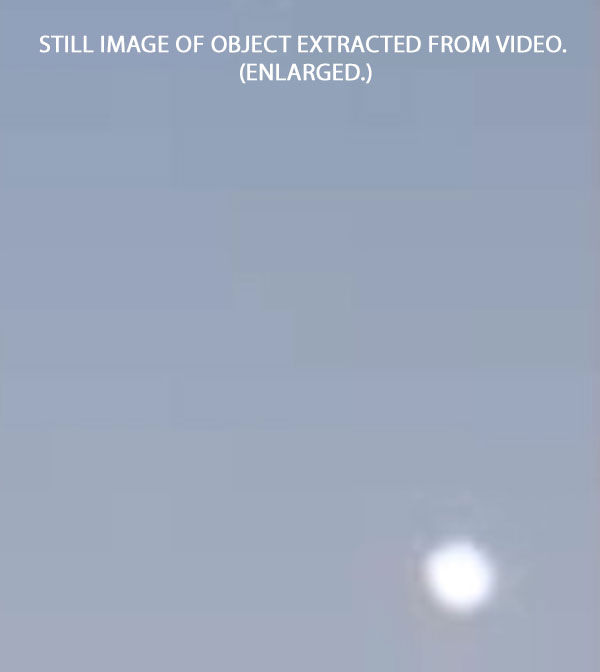 STILL IMAGE OF WHITE OBJECT EXTRACTED FROM VIDEO. (ENLARGED.)