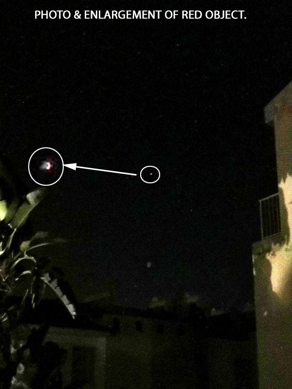 PHOTO & ENLARGEMENT OF RED OBJECT.