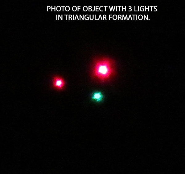 PHOTO OF 3 LIGHTS IN TRIANGULAR FORMATION.