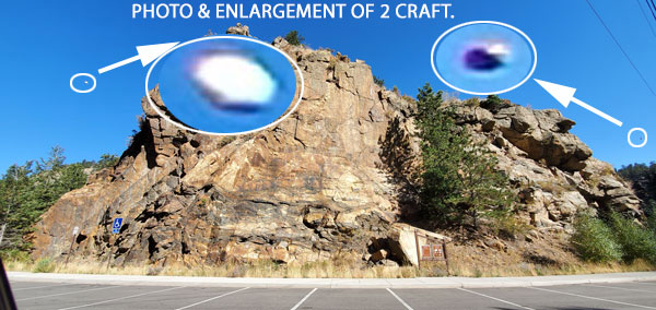 PHOTO & ENLARGEMENT OF 2 DISK SHAPED CRAFT.