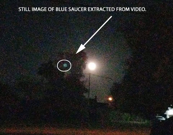 STILL IMAGE OF BLUE SAUCER SHAPED OBJECT EXTRACTED FROM VIDEO.