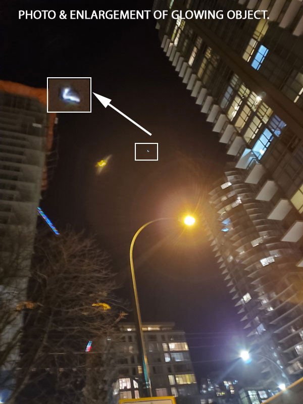 PHOTO & ENLARGEMENT OF GLOWING OBJECT.