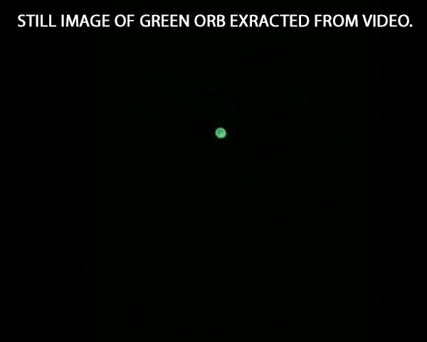 STILL IMAGE OF GREEN ORB EXTRACTED FROM VIDEO.