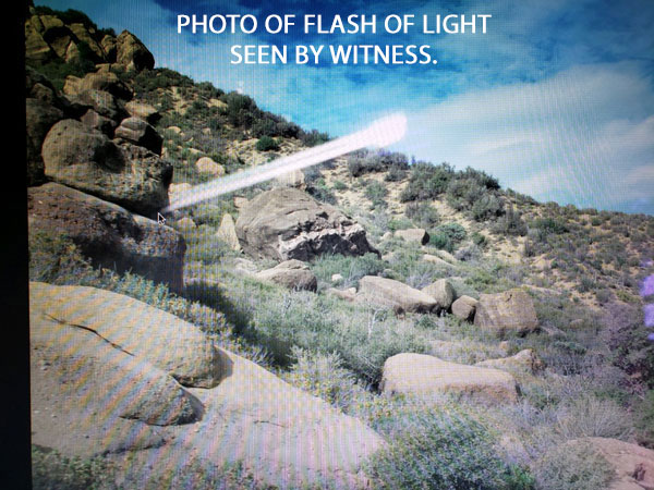 PHOTO OF FLASH OF LIGHT SEEN BY WITNESS.