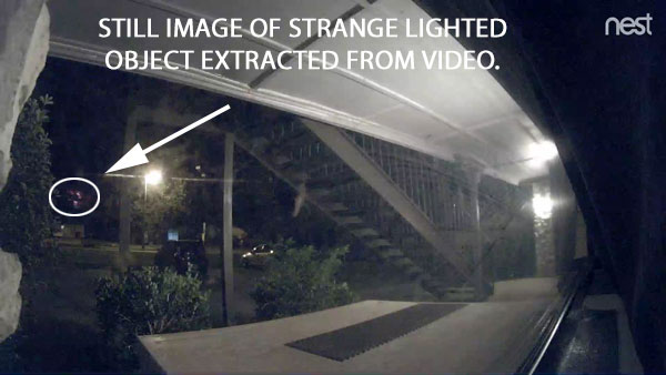 STILL IMAGE OF STRANGE LIGHTED OBJECT EXTRACTED FROM VIDEO.