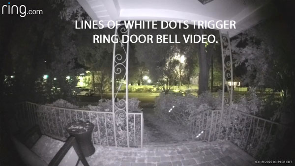 STILL IMAGE OF LINES OF WHITE DOTS EXTRACTED FROM VIDEO.