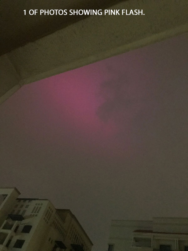 1 OF PHOTOS SHOWING PINK FLASH.