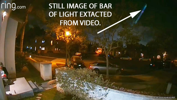 STILL IMAGE OF BAR OF LIGHT EXTRACTED FROM VIDEO.