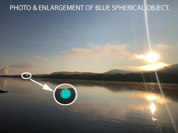 PHOTO & ENLARGEMENT OF BLUE SPHERICAL OBJECT SEEN BY WITNESS.