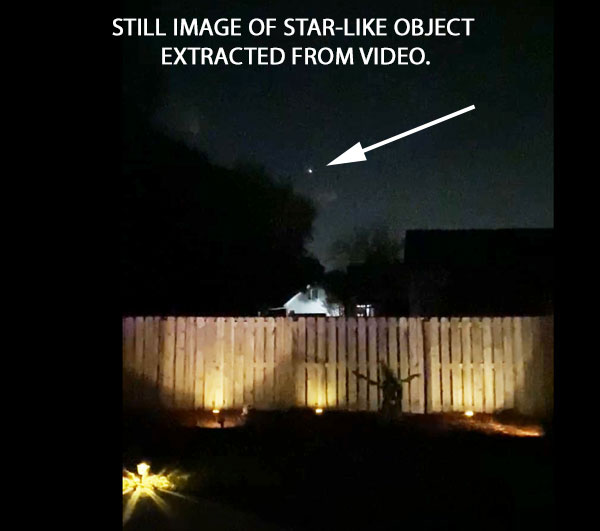 STILL IMAGE OF STAR-LIKE OBJECT EXTRACTED FROM VIDEO.