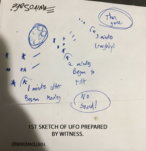 1ST SKETCH OF UFO & MOVEMENT PREPARED BY WITNESS.