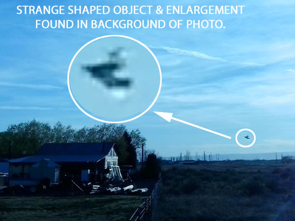 STRANGE SHAPED OBJECT & ENLARGEMENT FOUND IN BACKGROUND OF PHOTO.