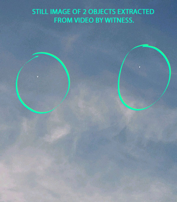 STILL IMAGE OF 2 BRIGHT OBJECTS EXTRACTED FROM VIDEO BY WITNESS.