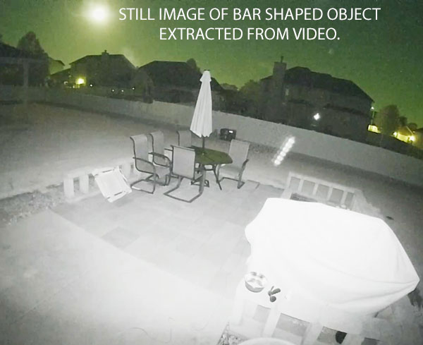 STILL IMAGE OF BAR SHAPED OBJECT EXTRACTED FROM VIDEO.
