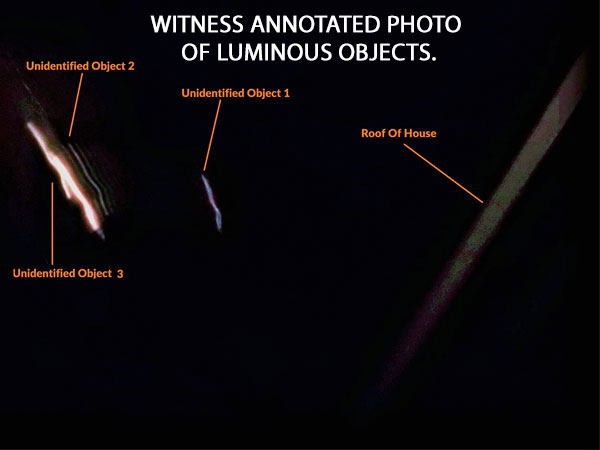 WITNESS ANNOTATED PHOTO OF LUMINOUS OBJECTS.