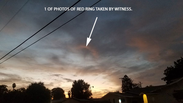 1 OF PHOTOS OF RED RING SENT BY WITNESS.