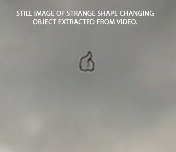 STILL IMAGE OF STRANGE SHAPE CHANGING OBJECT EXTRACTED FROM VIDEO.