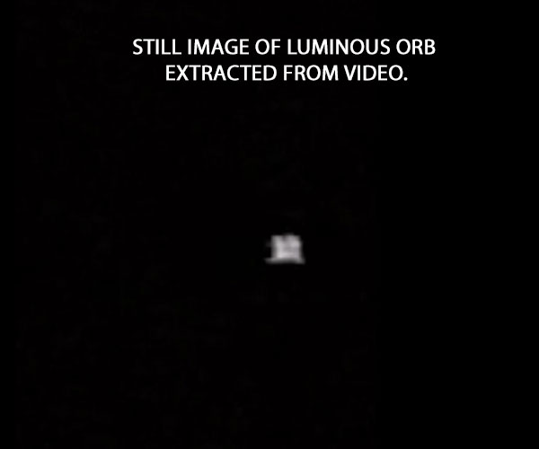 STILL IMAGE OF LUMINOUS ORB EXTRACTED FROM VIDEO.
