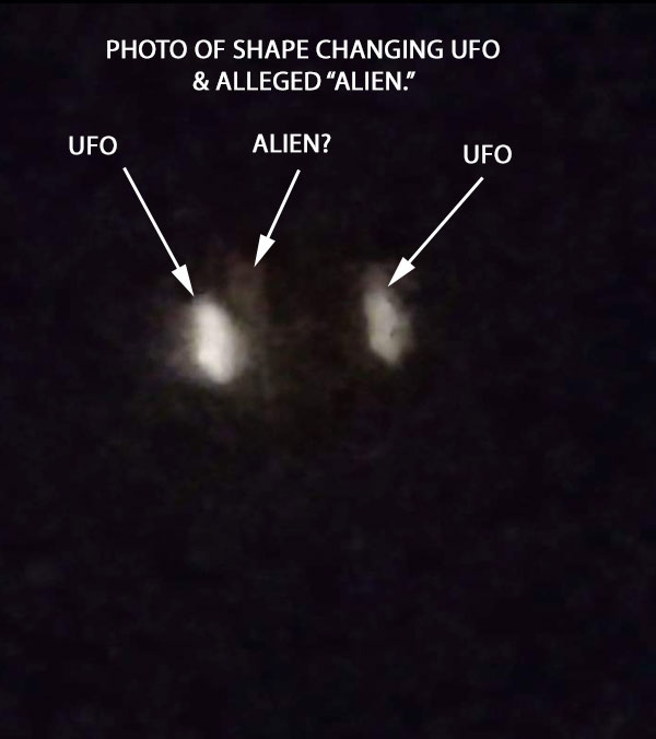 "PHOTO OF SHAPE CHANGING UFO & ALLEGED ""ALIEN."""