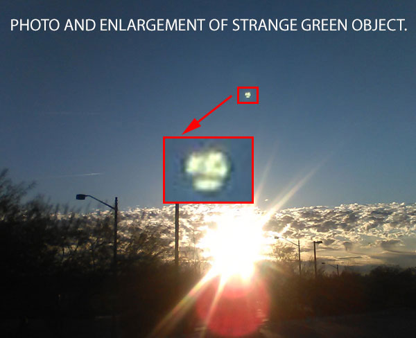 PHOTO & ENLARGEMENT OF GREEN OBJECT AS IT CONTINUED TO MOVE.