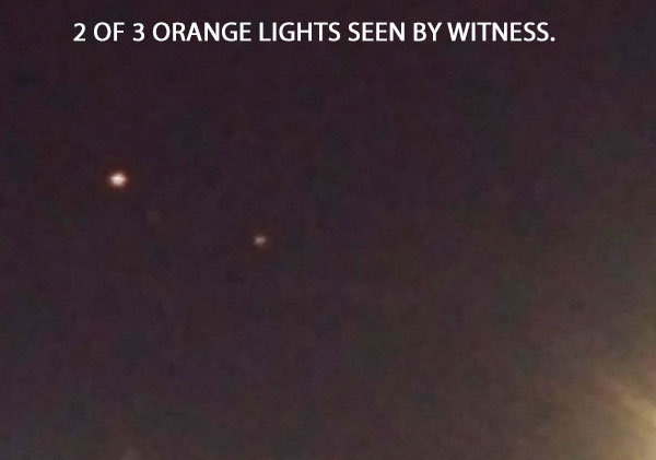 PHOTO OF 2 OF 3 ORANGE LIGHTS SEEN BY WITNESS.