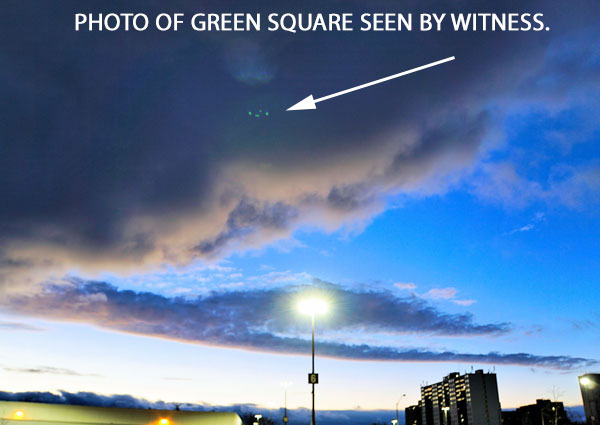 PHOTO OF GREEN SQUARE SEEN BY WITNESS.