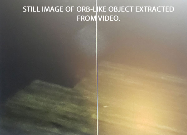 STILL IMAGE OF ORB-LIKE OBJECT EXTRACTED FROM VIDEO.