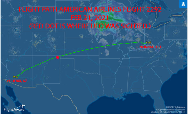 FLIGHT PATH AMERICAN AIRLINES FLIGHT 2292. (RED DOT IS LOCATION OF UFO SIGHTING.)