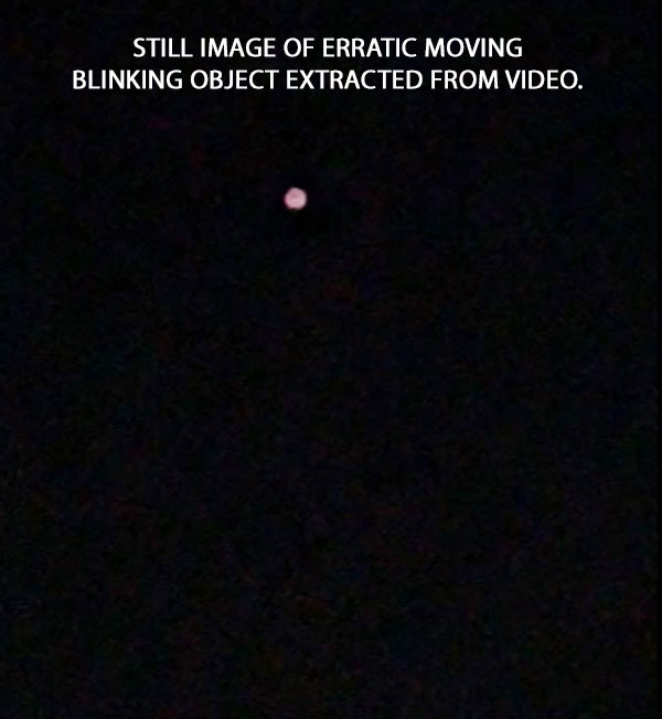 STILL IMAGE OF ERRATIC MOVING BLINKING OBJECT EXTRACTED FROM VIDEO.