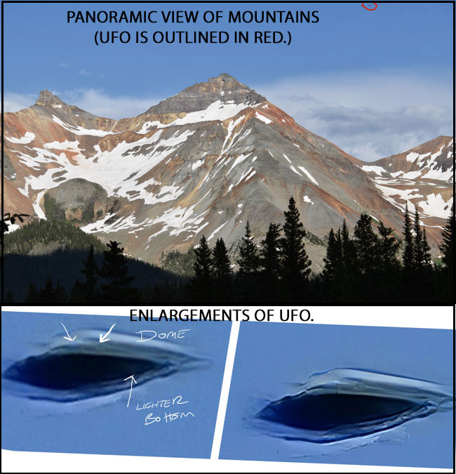 PANORAMIC PHOTO OF MOUNTAINS & ENLARGEMENTS OF UFO.