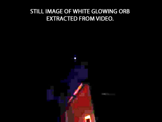 STILL IMAGE OF WHITE GLOWING ORB EXTRACTED FROM VIDEO.