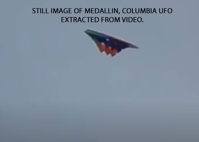 STILL IMAGE MEDALLIN, COLUMBIA UFO EXTRACTED FROM VIDEO.
