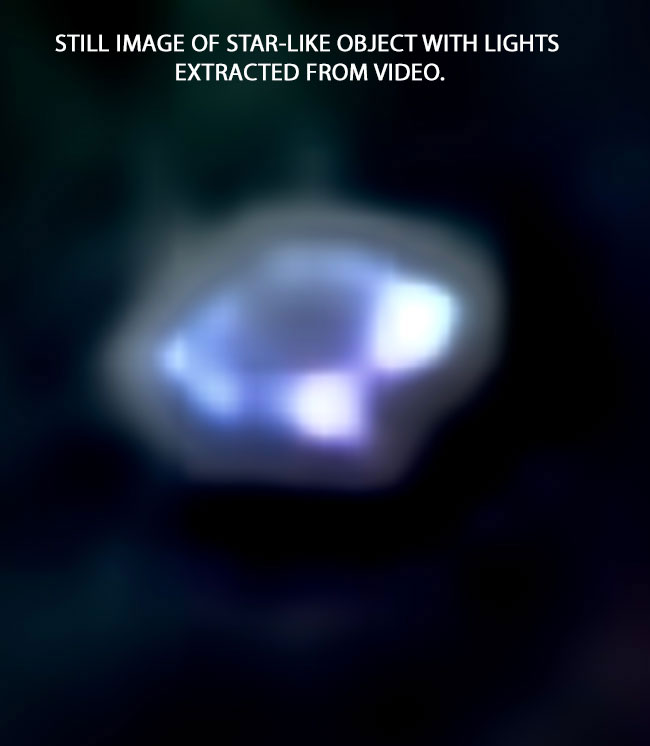 STILL IMAGE OF STAR-LIKE OBJECT WITH LIGHTS EXTRACTED FROM VIDEO.