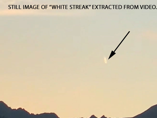 """STILL IMAGE OF """"WHITE STREAK"""" EXTRACTED FROM VIDEO."""