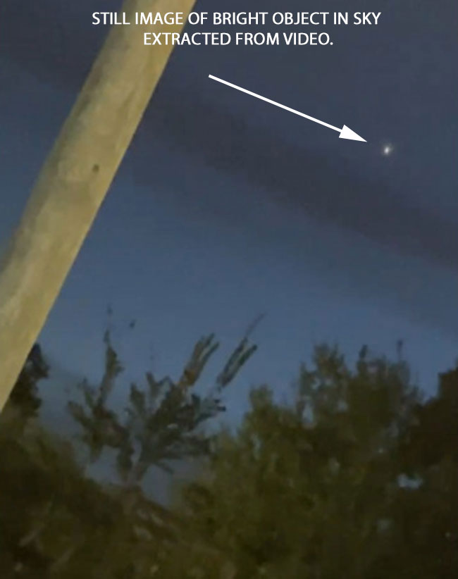 STILL IMAGE OF BRIGHT OBJECT IN SKY EXTRACTED FROM VIDEO.