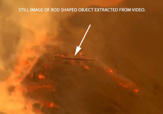 STILL IMAGE OF ROD SHAPED OBJECT EXTRACTED FROM VIDEO.